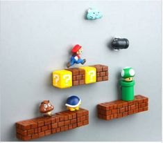 Details about Game Super Mario PVC Refrigerator Magnets Fridge Note Posted Sticker Super Mario Bros Mushroom Brick Pipe Tortoise Monster Video Game Fridge Magnets Super Mario Room, Boy Room, Kids Room, Deco Gamer, Geek Room, Video Game Rooms, Video Game Bedroom, Video Game Decor, Video Games