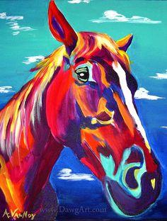 Horse, DawgArt, Horse Art, Southwestern Art, Pet Portrait, Colorful Pet Portrait, Equestrian Art, Art Prints, Horse Painting