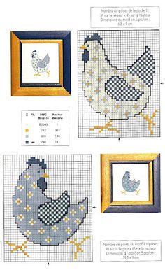 Cross Stitch For Kids, Cross Stitch Bird, Cross Stitch Animals, Cross Stitch Designs, Cross Stitching, Cross Stitch Embroidery, Cross Stitch Patterns, Chicken Cross Stitch, Christmas Embroidery Patterns