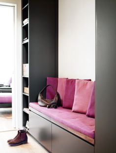 different colors but like the storage and seating for an entrance