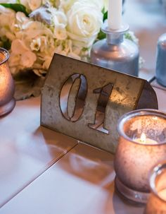 Styled Shoot: Chic Industrial Wedding Reception Ideas from Weddingstar - love the table number idea
