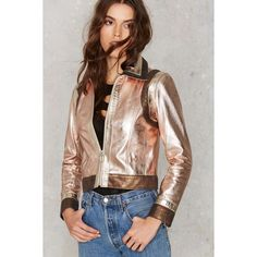 Nasty Gal You Should be Dancing Metallic Leather Jacket (€220) ❤ liked on Polyvore featuring outerwear, jackets, metallic, leather jacket, real leather jacket, 100 leather jacket, zip jacket y zipper leather jacket