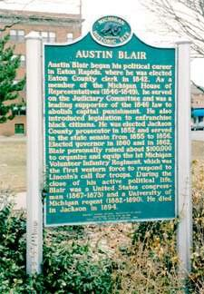Austin Blair historic marker