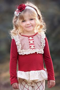 Persnickety Red Lou Lou Top with Lace Ruffle PREORDER