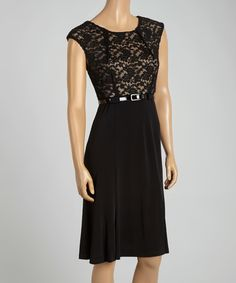 En Focus Studio Black & Nude Lace Belted Blouson Dress by En Focus Studio #zulily #zulilyfinds