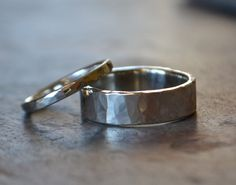 Men's Wedding Band Comfort Fit Hammered by RubyPierceJewelry, $125.00