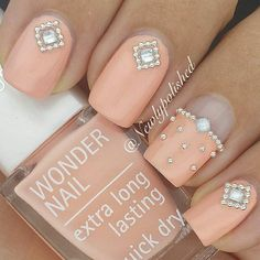 Cute colour and love the beads accents on the nails.