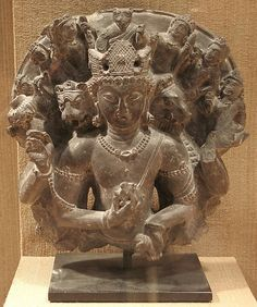 In this manifestation, Vishnu appears as the supreme Lord with ten arms and three faces. He is attended by his lion and boar avatars, Narasimha and Varaha, along with multiple other forms. Vishvarupa Vishnu  Date:6th century Culture:India (Jammu and Kashmir, ancient kingdom of Kashmir) Medium:Stone