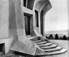 Detail of the front steps to the Rudolf-Steiner-Halde (Eurythmeum), constructed 1924 and expanded in 1935. The building serves as a training center for students of the movement art in Eurythmy.