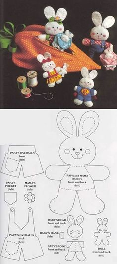 Arts And Crafts Projects Sewing Toys, Sewing Crafts, Sewing Projects, Easter Toys, Easter Crafts For Kids, Easter Treats, Felt Crafts Patterns, Fabric Toys, Bunny Crafts