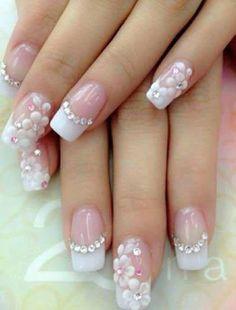 Nail art Christmas - the festive spirit on the nails. Over 70 creative ideas and tutorials - My Nails Wedding Nail Colors, Wedding Nails Design, Glittery Nails, Pink Nails, Nagel Bling, Bridal Nail Art, Bride Nails, Nagel Gel, Flower Nails