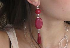 Orecchini pendenti ovale e goccia giada rossa