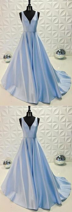 V-Neck Light Blue Satin Long Prom/Evening Dress#cheappromdress#cheapeveningdress#lightbluepromdress#longpromdress#eveningdresses#eveningdress2018