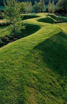 Serpentine grass path at The Wrekin garden Design Alan Gardener, Earthworks Garden Paths, Garden Art, Garden Landscaping, Landscaping Melbourne, Garden Grass, Formal Gardens, Outdoor Gardens, Abstract Landscape, Landscape Architecture
