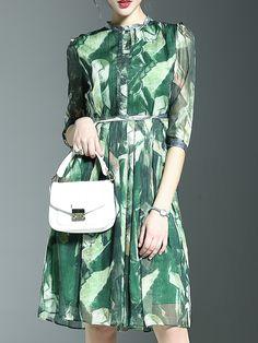 Green Crew Neck Print A-Line Dress -SheIn(abaday)