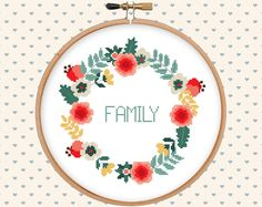Floral wreath cross stitch pattern pdf instant von GentleFeather