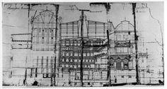 Ferdinand Fellner a Hermann Helmer: Mestské divadlo v Prešporku, projekt – rez hľadiska (1884; Archív Divadelného ústavu, Bratislava)