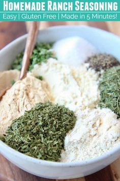 Add flavor to potatoes & chicken or make your own ranch dressing or dip at home with this easy Ranch Seasoning Mix recipe! It's gluten free & easy to make! Homemade Onion Soup Mix, Homemade Ranch Seasoning, Ranch Seasoning Mix, Homemade Spice Blends, Homemade Spices, Homemade Seasonings, Spice Mixes, Homemade Ranch Mix, Homemade Dry Mixes