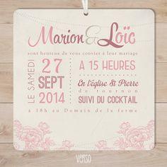 faire part mariage retro vintage champêtre vieux rose fleurs | Sweet Paper - Création de faire part sur mesure et boutique en ligne - Faire ...