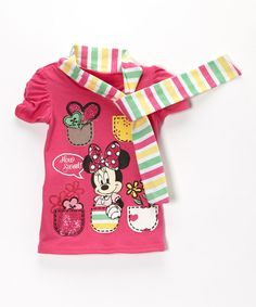 Look what I found on #zulily! Pink Minnie Mouse Tee & Scarf - Girls by Minnie's Bow-Tique #zulilyfinds