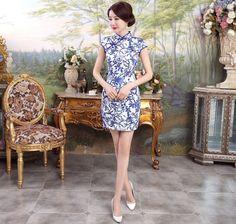 Graceful White Silk Blue Floral Pattern Mini Chinese Dress Cheongsam - iDreamMart.com