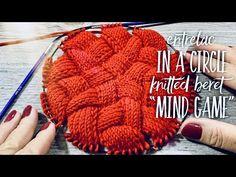 Knitted Beret, Knit Beanie Hat, Knitted Bags, Knitting Videos, Knitting Projects, Knit Crochet, Crochet Hats, Crochet Mandala Pattern, Molde
