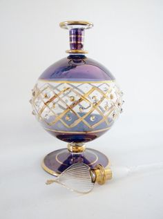 Purple and Gold Hand Blown Glass Perfume Bottle