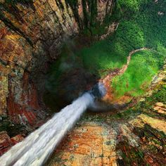 Dragon Falls, Venezuela. It is locally known as Churun Meru . Certainly an incredible natural formation.