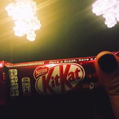 i'm not really into chocolate   but i cant resist the simple act of kindness... xie xie sha's minion! #chocolate #kitkat #nightphotography #turnoffthelights #minions #random