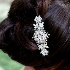 Rhinestone Hair Comb, Swarovski Crystal Head Piece,  Wedding Hair Accessories, CHANTILLY. $120.00, via Etsy.