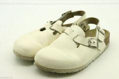 Birkenstock clogs size 7 38 Tokyo Womens sandals shoes white leather ankle strap #Birkenstock #clog