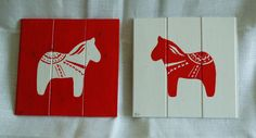 Handmade wooden Red and White Dala Horses by annadoor on Etsy, £45.00
