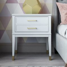 CosmoLiving by Cosmopolitan Westerleigh 1 Drawer Nightstand Color: White White Nightstand, 2 Drawer Nightstand, Tall Nightstands, Nightstand Ideas, Bedside Chest, Bedroom Makeover Before And After, Bedside Storage, End Tables With Storage, Wood Drawers