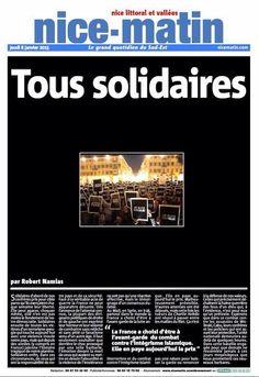 Charlie Hebdo : La Une de Nice-Matin du 8 janvier 2015.