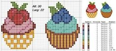 Cupcake Cross Stitch, Mini Cross Stitch, Dmc Embroidery Floss, Cross Stitch Embroidery, Cross Stitch Designs, Stitch Patterns, Hello Kitty Cupcakes, Stitch Cartoon, Donia