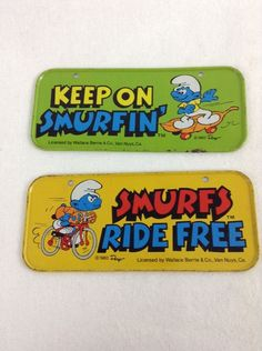 Vintage 1983 Smurfs Collectible Metal Bicycle License Plates / Tags Lot of 3 #WallaceBerrieCo - SOLD