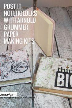 Post It Note Holders by Steph using handmade paper  #handmadepaper #postitnotes
