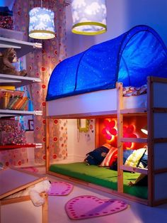 Ikea Kids Room - Kura Reversible Loft Bed with Canopy. Love how low the bunk beds are. Bedroom Ideas For Teen Girls, Girls Bedroom, Bedroom Decor, Ikea Bedroom, Bedroom Furniture, Modern Bedroom, Furniture Plans, Tent Bedroom, Kids Furniture