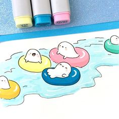 "⭐️KiraKiraDoodles on Instagram: ""Preferred public transportation for the summer: Lazy River!  • • #kawaii #doodle #lazyriver #spookymccute #spooky #waterpark #summer…"""