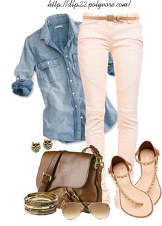 It is official I need a chambray denim shirt in my closet. Love it paired with soft pink pants and a rich brown leather handbag.