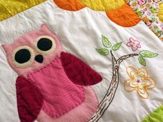 Bright Eyed Owls colorful baby quilt with by creativetradition, $125.00