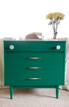 Amazing Colorful Home Furniture with the Vintage Design: Emerald Green Dresser With White And Gold Pulls ~ CHUCKFERRARO Furniture Inspiration