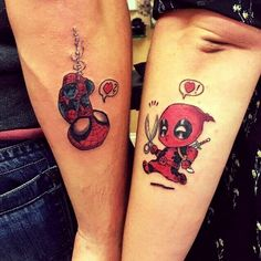 22 ideas funny couple tattoos art for 2019 Deadpool Tattoo, Spiderman Tattoo, Deadpool Y Spiderman, Avengers Tattoo, Marvel Tattoos, Paar Tattoos, Neue Tattoos, Body Art Tattoos, Small Tattoos