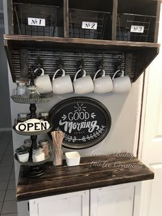 10 DIY Coffee Bar Cabinet Ideas for the Perfect Cup of Joe rusti… 10 DIY Coffee Bar Cabinet Ideas for the Perfect Cup of Joe rustic farmhouse coffee bar cabinet with dark wood countertop and farmhouse sign - Style Of Coffee Coffee Area, Coffee Nook, Coffee Coffee, Caribou Coffee, Coffee Club, Drinking Coffee, Fresh Coffee, Starbucks Coffee, Coffee Travel