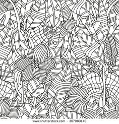 Seamless floral pattern for coloring book. Ethnic, floral, retro, doodle, vector, tribal, zentangle design elements. Black and white  background.