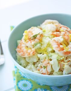Shrimp & Cauliflower Salad with Lemon and Dill. Low carb, lean protein, yummy veggies. #LowCarb #LoCarb #Seafood