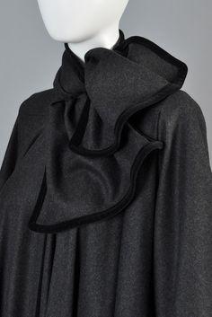 Valentino 1980s Wool + Velvet Full Sweep Coat | BUSTOWN MODERN
