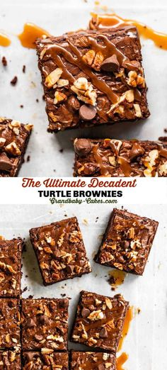 Super rich, fudgy brownies loaded with chocolate, caramel and pecans! These ooey-gooey, crunchy and salty-sweet Turtle Brownies are seriously going to blow you away! #turtlecandy #brownies #bars #chocolate #turtlebrownies #brownierecipe Vegan Recipes Easy, Baking Recipes, Cookie Recipes, Sweet Recipes, Bar Recipes, Kitchen Recipes, Recipes Dinner, Easy No Bake Desserts, Köstliche Desserts