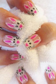 Pink Easter bunny nails www.finditforweddings.com Nail Art