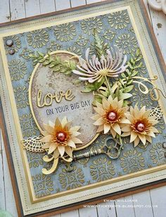 Wedding or Anniversary card tutorial with Prima products and lots of Tim Holtz elements Making Greeting Cards, Greeting Cards Handmade, Flower Cards, Paper Flowers, Wild Flowers, Tim Holtz Dies, Birthday Cards, Birthday Images, Birthday Quotes
